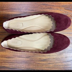Chloe Scalloped Suede Ballet Flats